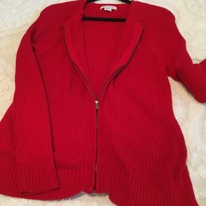 Liz Claiborne Red Zippered Long Sleeve Sweater